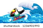 toucan surfing big wave... | Shutterstock .eps vector #1236901993