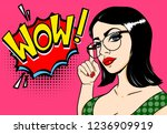 wow pop art girl. sexy young... | Shutterstock .eps vector #1236909919
