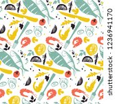 fish and vegetable pattern with ... | Shutterstock .eps vector #1236941170