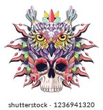Stock vector patterned owl and skull bird african indian totem tattoo design it may be used for design of 1236941320