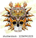 patterned owl and skull on the... | Shutterstock .eps vector #1236941323