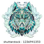 patterned head of the wolf or... | Shutterstock .eps vector #1236941353
