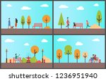 man resting on bench of autumn... | Shutterstock .eps vector #1236951940