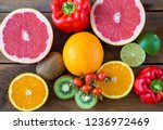 vitamin c in fruits and... | Shutterstock . vector #1236972469