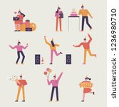 a set of characters of simple...   Shutterstock .eps vector #1236980710