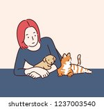 a girl is holding her cute dog... | Shutterstock .eps vector #1237003540
