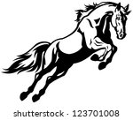 Stock vector jumping horse black white picture isolated on white background vector illustration 123701008