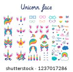 set with masks for photos. cute ... | Shutterstock .eps vector #1237017286