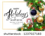 holidays greeting card for... | Shutterstock .eps vector #1237027183