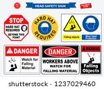 set of safety head sign.  hard... | Shutterstock .eps vector #1237029460