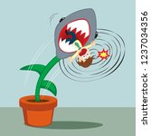 businessman trapped shark trap... | Shutterstock .eps vector #1237034356