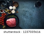 raw marbled beef steak on cast...   Shutterstock . vector #1237035616