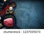 raw marbled beef steak on cast...   Shutterstock . vector #1237035673