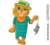 hilarious cat in a straw hat. | Shutterstock .eps vector #123705253