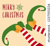 cute christmas card with elf... | Shutterstock .eps vector #1237053226