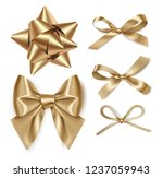 set of decorative golden bows... | Shutterstock .eps vector #1237059943
