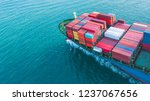 aerial view container cargo... | Shutterstock . vector #1237067656