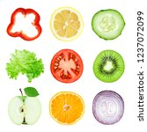 collection of fruit and... | Shutterstock . vector #1237072099