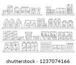 shelves set graphic black white ... | Shutterstock .eps vector #1237074166