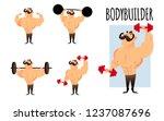 cartoon strong muscular... | Shutterstock .eps vector #1237087696