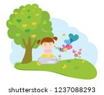 cute girl meditation in nature  ... | Shutterstock .eps vector #1237088293