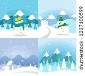 winter landscape illustration | Shutterstock .eps vector #1237100599