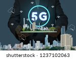 5g network interface and icon... | Shutterstock . vector #1237102063
