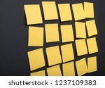 yellow empty sticker notes on... | Shutterstock . vector #1237109383
