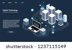 isometric server room and big... | Shutterstock .eps vector #1237115149