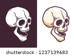 cartoon skull with open mouth... | Shutterstock .eps vector #1237139683