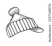 winter knitted cap with pompon  ... | Shutterstock .eps vector #1237140076