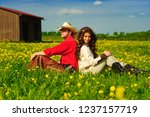 love story in cowboy's style. | Shutterstock . vector #1237157719
