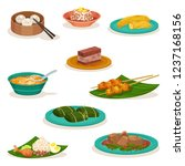 Flat vector set of traditional Malaysian dishes. Sweet desserts and snacks. Asian food