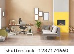 brown living room and yellow... | Shutterstock . vector #1237174660