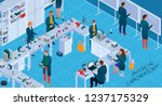 working staff with chemical and ... | Shutterstock .eps vector #1237175329