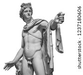 Small photo of Famous roman greek copy of Apollo di belvedere sculpture isolated on white background.