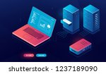 laptop pc with data processing... | Shutterstock .eps vector #1237189090