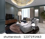 a small living room with a semi ... | Shutterstock . vector #1237191463
