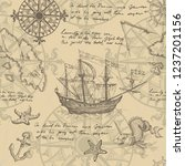 old caravel  vintage sailboat ... | Shutterstock .eps vector #1237201156