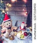 lovely bear and santa claus... | Shutterstock . vector #1237210453