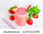 strawberry smoothies red... | Shutterstock . vector #1237212190