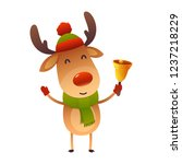 cute cartoon christmas reindeer ... | Shutterstock .eps vector #1237218229