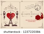 retro postcard with the famous... | Shutterstock .eps vector #1237220386