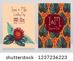 two wedding cards with tropical ... | Shutterstock .eps vector #1237236223