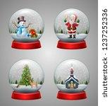 set of christmas snow globe... | Shutterstock .eps vector #1237252336