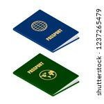 two passports in isometric...   Shutterstock .eps vector #1237265479