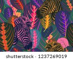 seamless pattern with tropical... | Shutterstock .eps vector #1237269019
