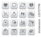Valentine's Day Icons : Silver Style - stock vector