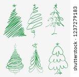 hand drawn christmas tree. set... | Shutterstock .eps vector #1237279183