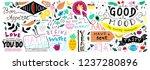 doodle food banner. vegan... | Shutterstock .eps vector #1237280896